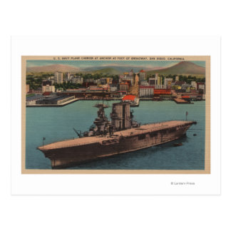 San Diego, CA - Ansicht US-Marine-Flugzeugträger Postkarten
