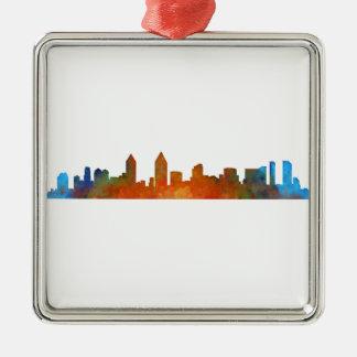 San Diego Kalifornien City Skyline Watercolor v01 Quadratisches Silberfarbenes Ornament