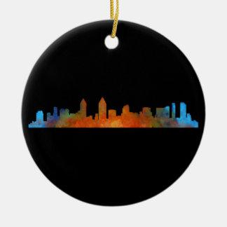 San Diego Kalifornien City Skyline Watercolor v01 Rundes Keramik Ornament