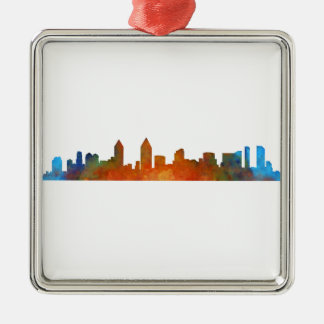 San Diego Kalifornien City Skyline Watercolor v01 Silbernes Ornament