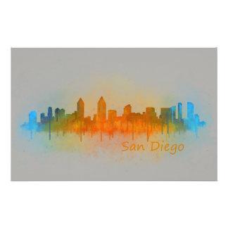 San Diego Kalifornien City Skyline Watercolor v03 Briefpapier
