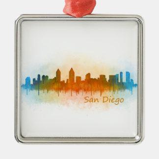 San Diego Kalifornien City Skyline Watercolor v03 Quadratisches Silberfarbenes Ornament