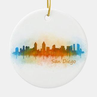 San Diego Kalifornien City Skyline Watercolor v03 Rundes Keramik Ornament