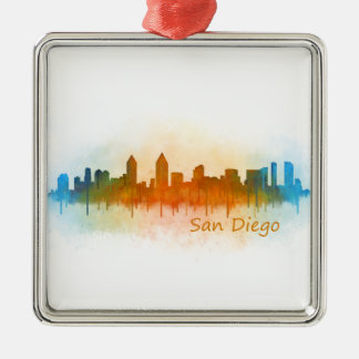 San Diego Kalifornien City Skyline Watercolor v03 Silbernes Ornament
