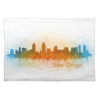 San Diego Kalifornien City Skyline Watercolor v03 Stofftischset