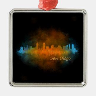 San Diego Kalifornien City Skyline Watercolor v04 Quadratisches Silberfarbenes Ornament
