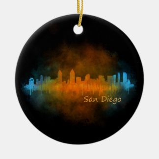 San Diego Kalifornien City Skyline Watercolor v04 Rundes Keramik Ornament