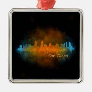 San Diego Kalifornien City Skyline Watercolor v04 Silbernes Ornament