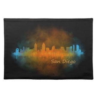 San Diego Kalifornien City Skyline Watercolor v04 Stofftischset