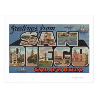 San Diego, Kalifornien - große Buchstabe-Szenen Postkarte