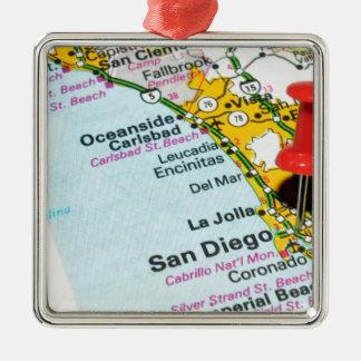 San Diego, Kalifornien Quadratisches Silberfarbenes Ornament