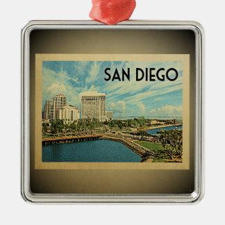 San Diego Kalifornien Vintage Reise-Verzierung Quadratisches Silberfarbenes Ornament
