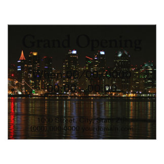 San Diego Skyline-Nacht 21,6 X 27,9 Cm Flyer