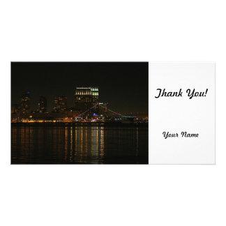 San Diego Skyline-Nacht Foto Karten Vorlage