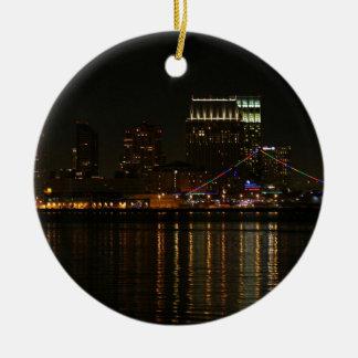San Diego Skyline-Nacht Rundes Keramik Ornament