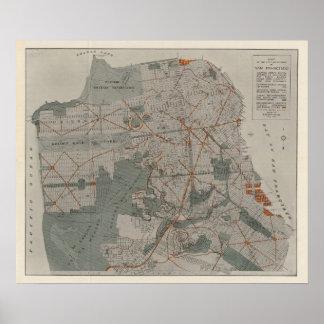San Francisco Atlas-Karte, die öffentliche Orte ze Poster