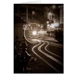 San Francisco Drahtseilbahn nachts Grußkarte