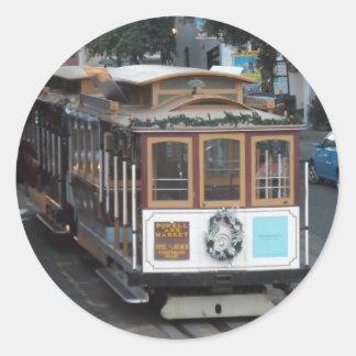 San Francisco Drahtseilbahn Runder Aufkleber