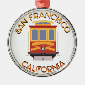San Francisco Drahtseilbahn Rundes Silberfarbenes Ornament