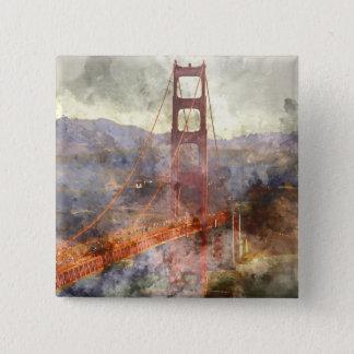 San Francisco Golden gate bridge in Kalifornien Quadratischer Button 5,1 Cm