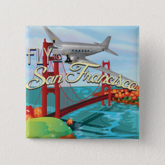San Francisco Golden gate bridge Quadratischer Button 5,1 Cm