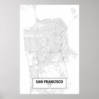 San Francisco, Kalifornien (Schwarzes auf Weiß) Poster