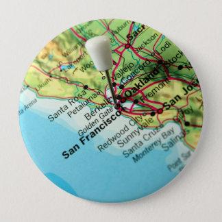 San Francisco Karte Runder Button 10,2 Cm