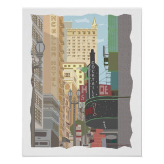 San Francisco-Powell und O'Farrell Straßen Poster