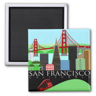 San Francisco Skyline-Illustrations-Magnet Quadratischer Magnet