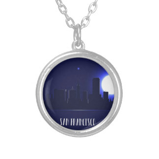 San Francisco Skyline-Silhouette nachts Versilberte Kette