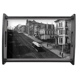 San Francisco Straße mit Drahtseilbahn 1901 Tabletts