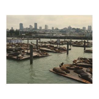 San Francisco und Seelöwe-Stadt-Skyline des Holzleinwand