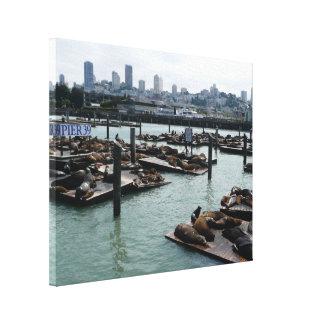 San Francisco und Seelöwe-Stadt-Skyline des Leinwanddruck