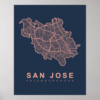 San- Josenachbarschafts-Karte Poster