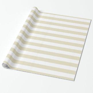 Sand-beige Weiß XL Stripes Muster Geschenkpapier