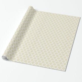 Sand-beige weißes Marokkaner Quatrefoil Muster #5 Geschenkpapier