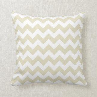 Sand-beige weißes Zickzack Zickzack-Muster Kissen