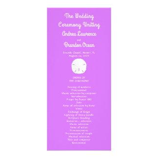 Sand-Dollar-lila lila hohes Hochzeits-Programm Werbekarte