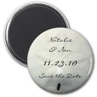 Sand-Dollar-Save the Date Strand-Hochzeits-Magnet Runder Magnet 5,1 Cm