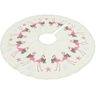 Sand-Dollar-tropisches Weihnachten der Flamingo-n Polyester Weihnachtsbaumdecke