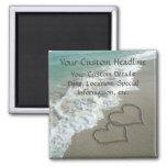 Sand-Herzen auf dem Strand, romantisch Save the Da Kühlschrankmagnet