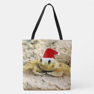 Sand-Krabbe im Weihnachtsmannmütze-Weihnachten Tasche