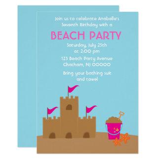 Sand-Schloss-Strand und Sommer-Geburtstags-Party 12,7 X 17,8 Cm Einladungskarte