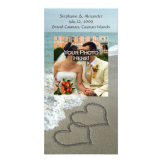 Sand-Schreiben auf dem Strand ineinander greifenh Photo Karten Vorlage