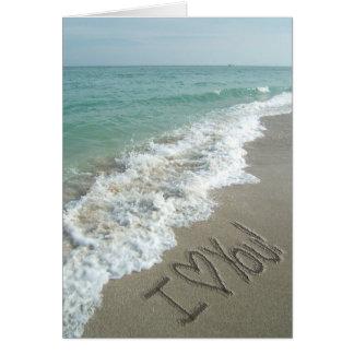 Sand-Schreiben auf der Strand-Gruß-Karte Karte
