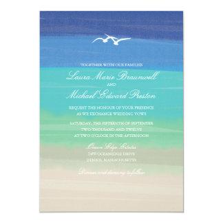 Sand-, See-u. Seemöwe-| gemalte Ozean-Hochzeit 12,7 X 17,8 Cm Einladungskarte