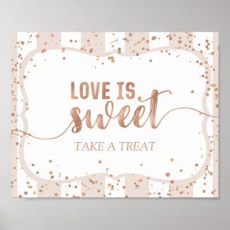 Sand-Streifen u. Rosen-Goldconfetti-Liebe ist- süß Poster