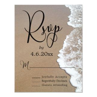Sand-u. Schaum-Strand-Foto u. Typografie-Hochzeit 10,8 X 14 Cm Einladungskarte