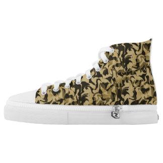 Sand und Schwarz-Tarnung Hoch-geschnittene Sneaker