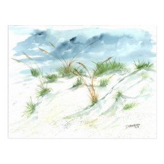Sanddüne-Strand-MeerblickseeAquarellkunst Postkarte